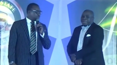 Alibaba & Gbenga Adeyinka go expensive on jokes about #Dasukigate in front of Pres. Buhari