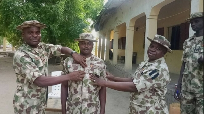 Nigerian Army troops deployed in the North-East operations against the Boko Haram terrorist group have been decorated with their new ranks
