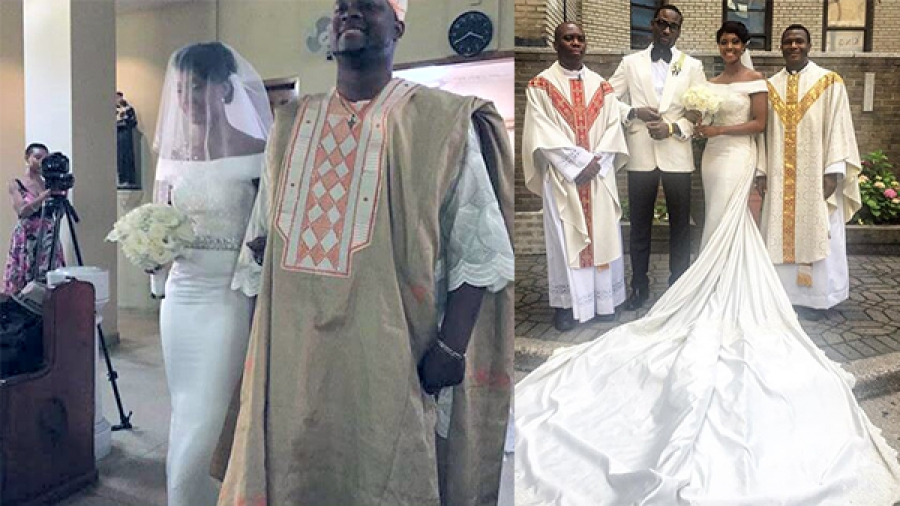 Photos From Gbenro Ajibade And Osas Ighodaro's White Wedding In New York.