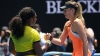 Serena Williams and Maria Sharapova exchange greetings after a match