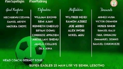 AFCON 2021 QUALIFIER: Rohr picks, Musa, Ekong, 21 others for Benin, Lesotho (full list)